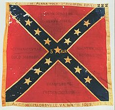 Battle Flag of the 5th Alabama Infantry Regiment. This flag is an Army of Northern Virginia, 3rd wool bunting issue. Flags of this pattern were manufactured at the Richmond Depot between July 1862 and May 1864. This flag was issued to the 5th Alabama Infantry in April, 1863. It was captured at the Battle of Chancellorsville, Virginia on May 3, 1863 by the 111th Pennsylvania Volunteers, 2nd Brigade, 2nd Division, 12th Army Corps.