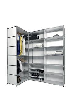 usm modular furniture wardrobe silver gray meuble usm haller dressing gris argent pinteres. Black Bedroom Furniture Sets. Home Design Ideas