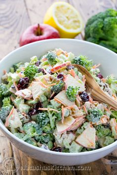 This broccoli salad with apples, walnuts and creamy lemon dressing has been a family favorite for years. All of the flavors work really well together.
