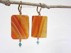 carnelian earrings - carnelian slice - swarovski crystal - pure copper elements - copper leverback ear hooks - handmade by RockinLola