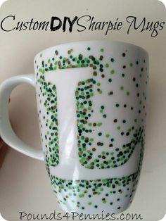 DIY Custom Sharpie Mugs great gift idea for Christmas. Use Sharpie paint pens to create an easy custom sharpie mug. Step by step fool proof directions. Dishwasher safe. #handmade #gift #Sharpie