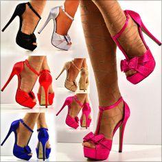 NEW Ladies Glitter Diamante Ankle T bar Strap High Heel Shoe Sandal Evening Size