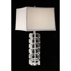 A chrome finish highlights this Squared Block table lamp. This 3-way lamp features an ivory shade.