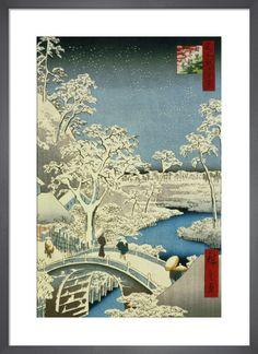 Drum Bridge and Setting Sun, Hill at Meguro, 1857 Art Print by Ando Hiroshige | King & McGaw Japanese Artwork, Japanese Prints, Winter Szenen, Fine Art Prints, Framed Prints, Framed Art, Wall Art, A4 Poster, Gustav Klimt