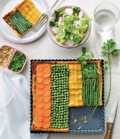 Une tarte aux légumes à rayures multicolores - A vegetables pie with stripes