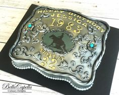 Silver Belt Buckle Cake with Turquoise and Horse , Rodeo Cake by cake artist… Western Birthday Cakes, Western Cakes, Cowboy Cakes, Rodeo Birthday, Country Birthday, Rodeo Party, Cowboy Party, Cake Design For Men, Bithday Cake