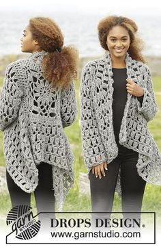 Crochet DROPS jacket worked in a square in Cloud. Size S-XXXL. Free pattern by DROPS Design.