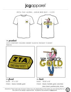 JCG Apparel : Custom Printed Apparel : Zeta Tau Alpha Bid Day T-Shirt #zetataualpha #zeta #zta #bidday #gold #handdrawn #westruckgold