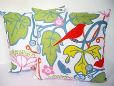 Scandinavian+Swedish+Vintage/Retro+60s+Fabric+Cushion+Cover+-+Kvitter+birds