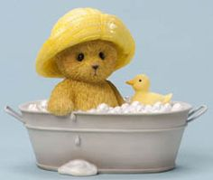 Cherished Teddies Figurine (Adams - Rub-A-Dub, Having Fun In The Tub) Adams and his rubber ducky are making the very most of bath time fun. Dressed in the cutest yellow rain hat, at least this will keep his head from getting wet. Teddy Bear Pictures, Bear Photos, My Teddy Bear, Cute Teddy Bears, Clay Bear, Paddington Bear, Boyds Bears, Love Bear, Tatty Teddy