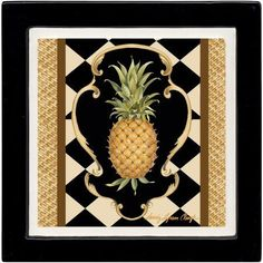 Thirstystone Ambiance Drink Coasters Set, Pineapple Scroll, Black, Multicolor