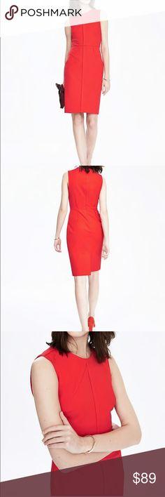 banana republic bi-stretch sloan dress poster red brand new.. sloan material Banana Republic Dresses Midi