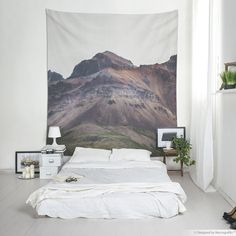 Minimalist wall art, Iceland landscape photography of a volcanic mountain, Scandinavian fabric wall hanging, Event decor. Wall Tapestries, Tapestry, Scandinavian Fabric, Iceland Landscape, Affordable Wall Art, Hanging Art, Event Decor, Landscape Photography, Printing On Fabric