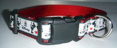 Mickey themed collars come in a choice of 2 patterns -  silhouettes of Mickey and Minnie with a red heart, or a colorful Mickey in multiple poses. This collar is a great choice for the Disney lover and the playful dog!    Backed with nylon webbing for strength and durability.    A black buckle and adjustment glide are complimented with a metal D ring.     If you would like this collar in another size or style, please message or email us and we will be happy to create the collar to your…