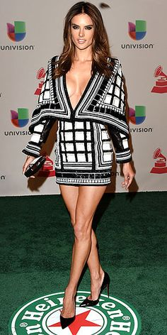 Last Night's Look: Love It or Leave It?   ALESSANDRA AMBROSIO   Yep, you have seen the Balmain mini Alessandra is wearing at the Latin Grammys in Las Vegas on a very memorable star before, but that doesn't make it any less jaw-dropping now!