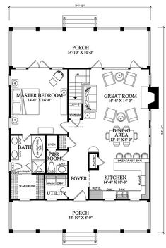 First Floor Plan of Cottage Country Farmhouse House Plan I would flip the plan and have the great room and master bedroom in the front of the house. I think I would remove the pantry and have it all open, too. Country Style House Plans, Tiny House Plans, House Floor Plans, One Bedroom House Plans, Small House Plans Under 1000 Sq Ft, Cottage Plan, Cottage Homes, Farmhouse Plans, Country Farmhouse