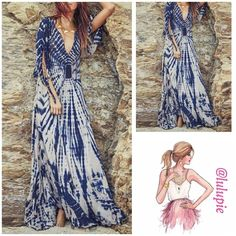 """Tie Die Maxi Dress Stylish blue and white printed maxi dress with a split sleeve. Flowy dress made of polyester.   Measurements (approx) Small Bust 36.22""""  length 55.12""""shoulder width 14.57  Medium  Bust 37.80""""length 55.91""""shoulder width 14.96""""  Large Bust 39.37""""length 56.96""""shoulder width 15.75""""  Runs small. Size up. Please check measurements before purchasing to make sure the dress fits Bchic Dresses Maxi"""