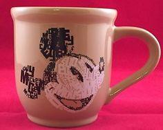 RARE Disney Store Mickey Mouse Typography Design Coffee Mug Cup Tan Brown   eBay