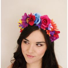 Mexican Purple Pink Blue Orange Red Yellow Flower Crown floral crown,... ($34) ❤ liked on Polyvore featuring accessories, hair accessories, pink headband, head wrap headband, flower garland, pink flower crown and headband hair accessories