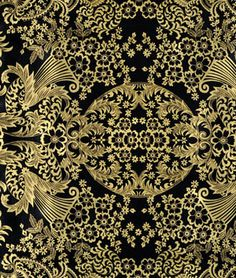 Gold/Black Paradise Lace Oilcloth - could use this for the papasan cushion I have been needing to make!