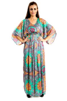 Flourish Spring - $55.00 Renaissance ornament, spring green silk satan dress with pink curles Oriental style Hem hits the floor V-shaped neckline  Elastic on the waist Long sleeves  Available in 2 sizes: S-M and L-XL Size 1 is suitable for the waist line up to 85 cm, size 2 up to 110 cm Manufactured in UAE Hand wash http://zafirahfashion.com/shop/4584099183/flourish-spring/8008761 #dress #fashion #dubai #zafirahfashion