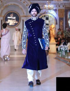 Now you can have all the desired items regarding with Indian fashion, designer… Wedding Dresses Men Indian, Wedding Outfits For Groom, Asian Wedding Dress, Wedding Dress Men, Wedding Groom, Mens Sherwani, Sherwani Groom, Wedding Sherwani, Blue Sherwani
