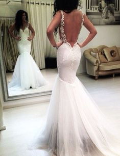 Elegant Straps Appliques Mermaid Wedding Dress Backless,backless wedding dresses,wedding dresses 2016