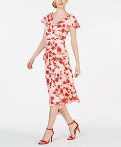 Adrianna Papell Ruffled V-Neck Midi Dress & Reviews - Dresses - Women - Macy's