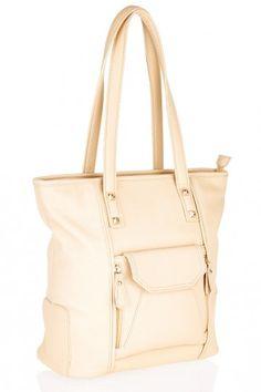 Grab Bag with Front Pocket Detail - Ivory
