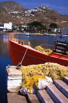 Fishing boat and Chora, Serifos island, Greece by evakamaratou Myconos, Temple Ruins, Greek Isles, Bass Boat, Samos, Greece Islands, Europe, Beautiful Places To Visit, Greece Travel