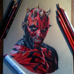 Finished with Darth Maul. Done with prismacolor pencils and a Copic marker.