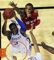 Sophomore Terrence Jones takes flight against Western Kentucky in the Wildcats first round NCAA tournament victory. Jones finished the night with 22 points and 10 rebounds.