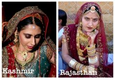 Brides from the state of Kashmir and Rajasthan in India.