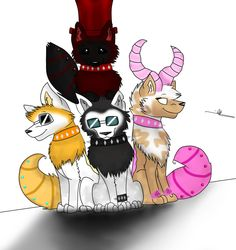 Julian2, Kosho ( Bepper ), Lilacpetal, I'm not sure about the black and red one please tell me who it is.