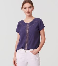 Thumbnail Image of Color Swatch 7199 Image of Eyelet Trim Tee