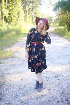 Dark Floral Dress + Booties