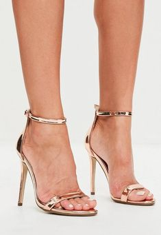 Rose Gold 2 Straps Barely There Sandals
