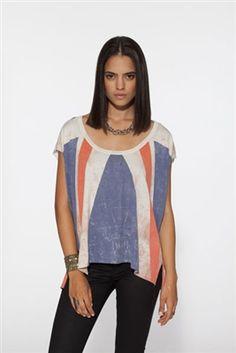 Chaser Brit Flag Women's Vintage Jersey. Cotton, Shirttail.