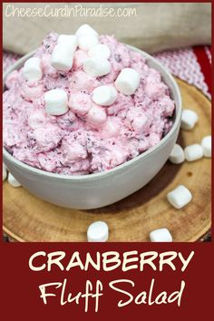 My Cranberry Fluff Salad is a delicious twist on traditional cranberry sauce or a yummy dessert. With only 5 ingredients and easy prep, this salad is a fast family favorite. Packed with delicious ingredients like fresh cranberries, crushed pineapple, whipped topping, sugar, and mini marshmallows. The cranberries are nice and start and work perfectly with the sweet pineapple and marshmallows. #Cranberry #SideDish #Thanksgiving #FluffSalad