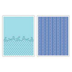 Sizzix Textured Impressions Embossing Folders 2PK - Flourish, Dots & Ribbon Set $10.99