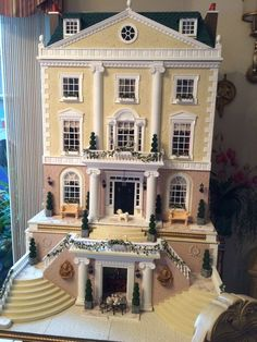 Custom Made Miniature Dollhouse Mansion House, Wood / MDF/ Stucco 1:12 Scale #CustomMadeMansion