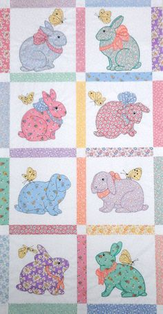 Bunnies and More designs by Darcy Ashton - now have been digitized for machine applique Baby Quilt Patterns, Applique Patterns, Applique Quilts, Applique Designs, Embroidery Designs, Cute Quilts, Mini Quilts, Baby Quilts, Children's Quilts