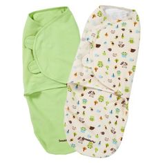 Summer Infant® SwaddleMe®-Woodland Friends 2-Pack. Muslin blankets are all the rage but the velcro on these  make it so easy.  They struggle at first but then settle in.