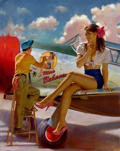 Collection of Aviation Pin Up and Nose Art copyrights belong to their respective owners. These are images I've found publicly accessible while browsing the Internet, unless otherwise stated. Pinup Art, Nose Art, Pin Up Girls, Dibujos Pin Up, Serpieri, Pin Up Girl Vintage, Vintage Pins, Drawn Art, Airplane Art