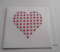 Red/Pink and one Lime Green Polka Dot Heart Completed Cross Stitch Card.