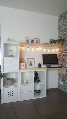 Ikea Kallax Hack Sideboard Woods DIY – interior design ideas - home diy ideas Home Office Design, Home Office Decor, Diy Home Decor, Office Ideas, Office Furniture, Diy Furniture, Ikea Office, Classic Furniture, Attic Office