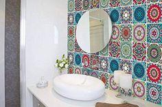 Bathroom Decorating – Home Decorating Ideas Kitchen and room Designs Vinyl Tile Backsplash, Tile Decals, Vinyl Tiles, Wall Stickers Murals, Kitchen Backsplash, Stick On Mirror, Stick On Tiles, Boho Bathroom, Bathroom Ideas