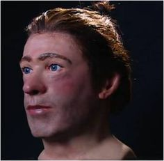 Facial reconstruction of the Clonycavan man, his hairstyle visible.