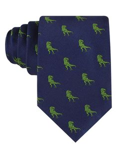 Navy blue neck tie for men that features a fun green T-Rex dinosaur pattern. Dinosaur Fabric, Dinosaur Pattern, Big And Tall Style, Big Men Fashion, Fashion Hats, Suit Accessories, Suit And Tie, Novelty Print, T Rex