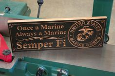 Semper Fidelis US Marine Corps Emblem Man Cave Veterans Sign Wooden Carved Father's Day Gift Armed Services Sign Military Sign 7x18 oa on Etsy, $51.95